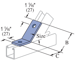 "UNISTRUT 2 Hole, Outside Angle Fitting 45° (1-5/8"" Series) Electro-Galvanized (EG) (20/CTN)"