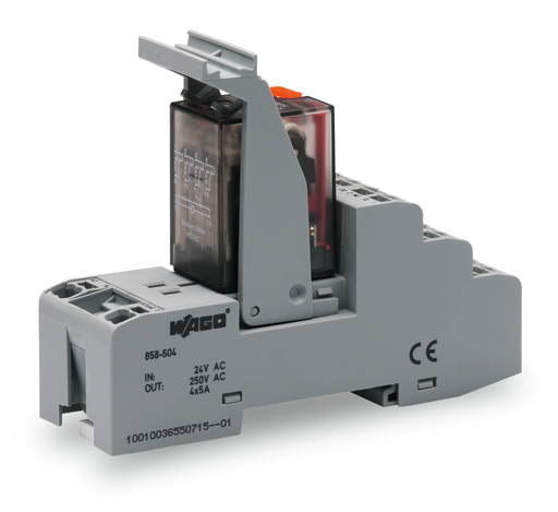 Mayer-Relay module; Nominal input voltage: 115 VAC; 4 changeover contacts; Limiting continuous current: 5 A; with manual operation; Red status indicator; Module width: 31 mm-1