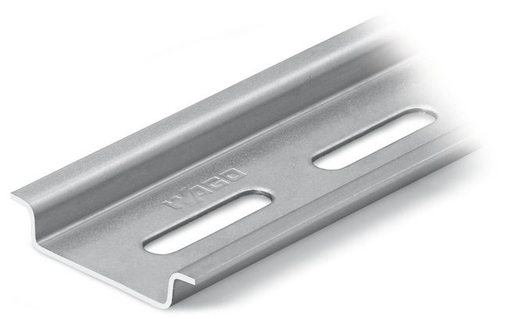 """Mayer-Steel carrier rail; 35 x 7.5 mm; 1 mm thick; 2 m long; slotted; according to EN 60715; """"Hole width 25 mm; silver-colored-1"""