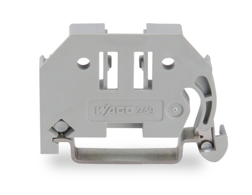 Mayer-Screwless end stop; 6 mm wide; for DIN-rail 35 x 15 and 35 x 7.5; gray-1