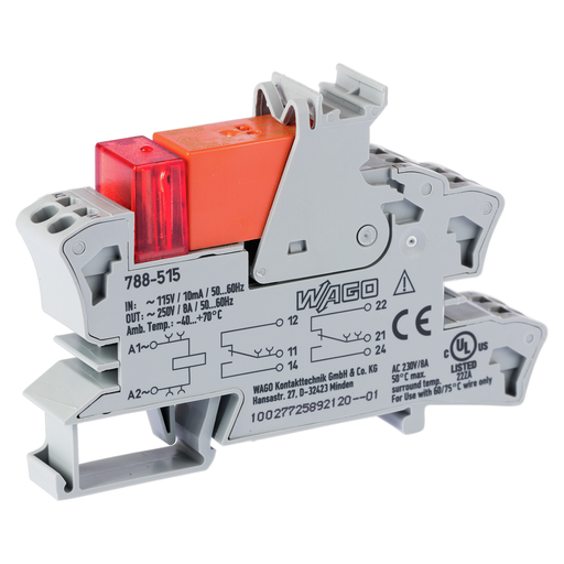 Mayer-Relay module; Nominal input voltage: 115 VAC; 2 changeover contacts; Limiting continuous current: 8 A; Red status indicator; Module width: 15 mm; 2,50 mm²; gray-1