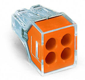 Mayer-PUSH WIRE® connector for junction boxes; 4-conductor; transparent housing; orange face-1