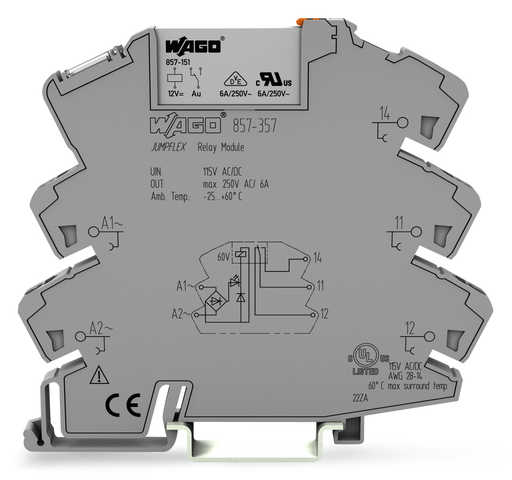 Mayer-Relay module; Nominal input voltage: 115 V AC/DC; 1 changeover contact; Limiting continuous current: 6 A; Yellow status indicator; Module width: 6 mm; 2,50 mm²; gray-1