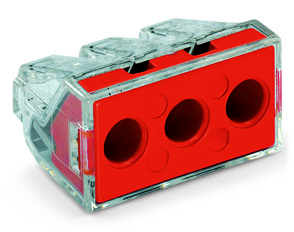 Mayer-PUSH WIRE® connector for junction boxes; 3-conductor; AWG 10; transparent housing; red face-1