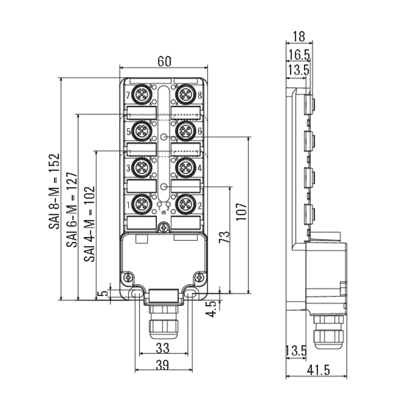 SAI-8-M 5P M12 ECO