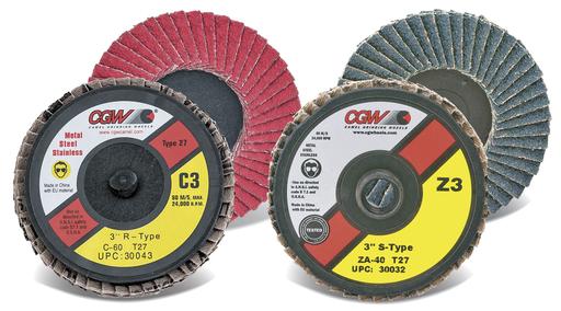"""Z3® 2 - 3"""" Mini Flap Discs - Zirconia, Roll On - Size 2 - Grit 36"""