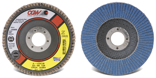 Z-Stainless Flap Discs - Type 27 - Size 4-1/2 x 7/8 - Grit 40