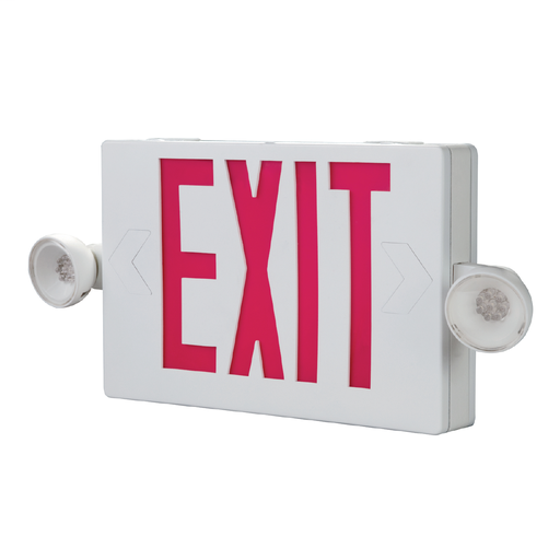 Combo Unit, White Housing, Led-Exit, (2) LED Emergency Light Heads, Universal Face Red Letters