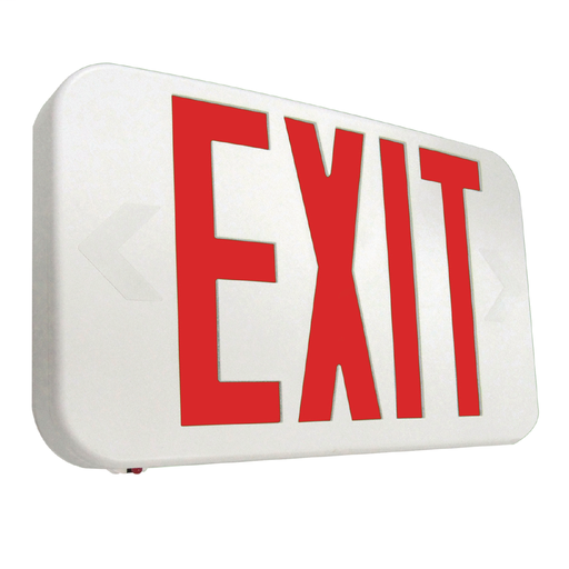 Self Powered, White Housing, LED Exit, Red Letters