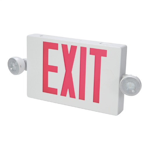 Combo Unit, White Housing, Led-Exit, (2) LED Emergency Light Heads, Universal Face Green Letters