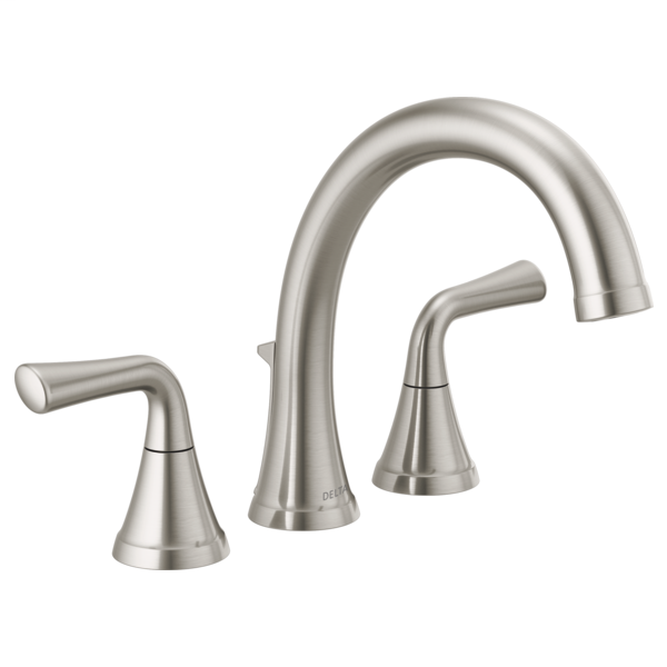 DELTA® T2733-SS Kayra™ Roman Tub/Whirlpool Faucet Trim, 10 to 16 in Center, Stainless Steel, 2 Handles, Import