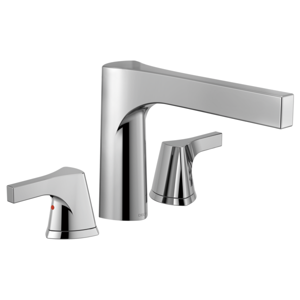 DELTA® T2774 Roman Tub Trim, Zura™, 2 gpm Flow Rate, 11 to 16 in Center, Polished Chrome, 2 Handles, Function: Traditional, Domestic