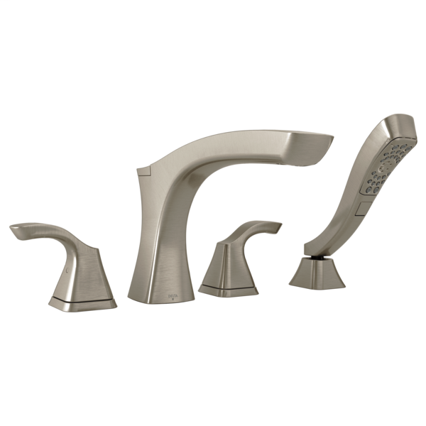 DELTA® T4752-SS Tesla® Roman Tub Trim, Commercial, 2 gpm Flow Rate, 8 to 16 in Center, Stainless Steel, 2 Handles, Function: Traditional, Domestic