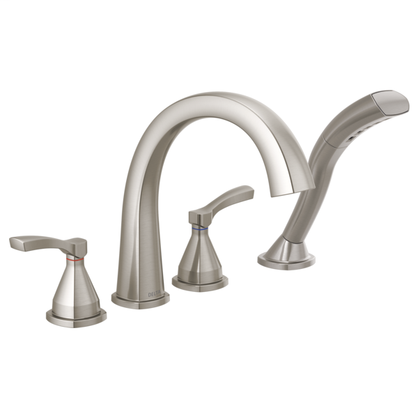 DELTA® T4777-SS Stryke™ Roman Tub/Whirlpool Faucet Trim, 1.75 gpm at 80 psi Flow Rate, 8 to 16 in Center, Stainless Steel, 2 Handles, Import