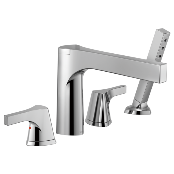 DELTA® T4774 Zura™ Roman Tub Trim, 2 gpm Flow Rate, 11 to 16 in Center, Polished Chrome, 2 Handles, Function: Traditional, Domestic