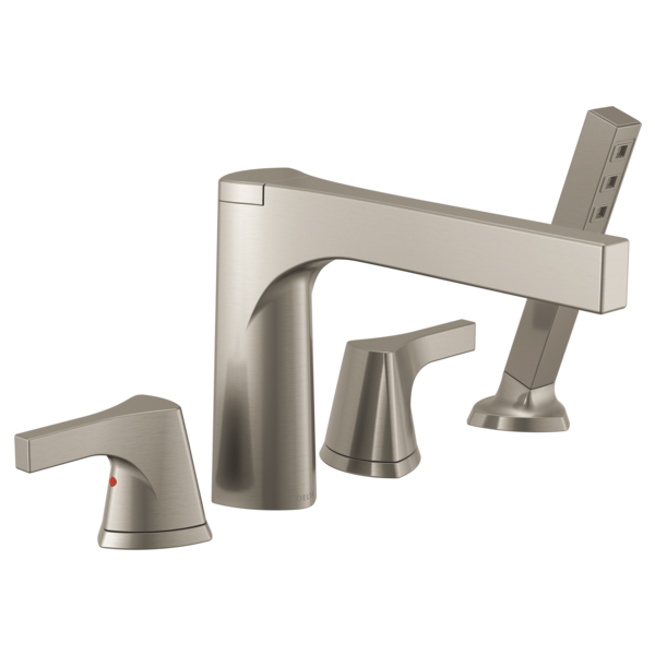 DELTA® T4774-SS Zura™ Roman Tub Trim, 2 gpm Flow Rate, 11 to 16 in Center, Stainless Steel, 2 Handles, Function: Traditional, Domestic