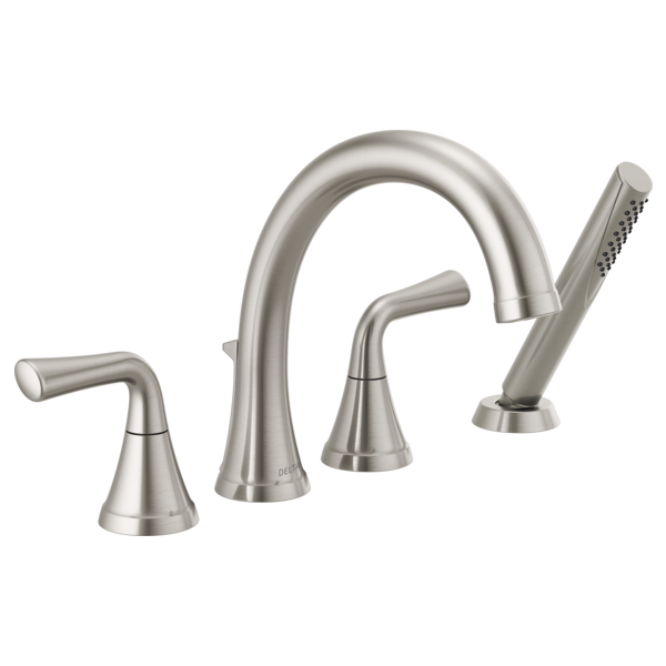 DELTA® T4733-SS Kayra™ Roman Tub/Whirlpool Faucet Trim, 1.75 gpm at 80 psi Flow Rate, 10 to 16 in Center, Stainless Steel, 2 Handles, Import