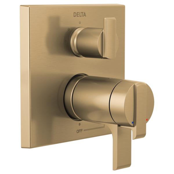 DELTA® T27T867-CZ TempAssure® 17T Angular Modern Valve Trim With 3-Setting Integrated Diverter, Brilliance® Champagne Bronze