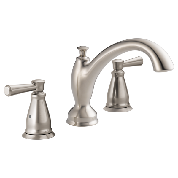 DELTA® T2793-SS Roman Tub Trim, Linden™, 2 gpm Flow Rate, 8 to 16 in Center, Stainless Steel, 2 Handles, Function: Traditional, Import