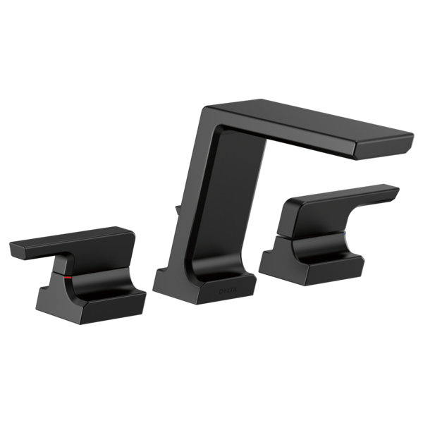 DELTA® T2799-BL Roman Tub Trim, Pivotal™, 1.75 gpm Flow Rate, 11 to 16 in Center, Matte Black, 2 Handles, Function: Traditional, Domestic