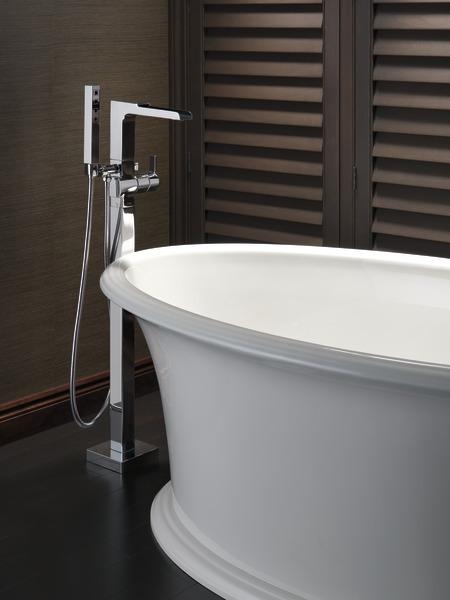 DELTA® T4768-BLFL Ara™ Floor Mount Tub Filler, 6 gpm Flow Rate, Matte Black, 1 Handles, Domestic