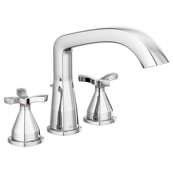 DELTA® T27766 Roman Tub Trim, Stryke™, 8 to 16 in Center, Polished Chrome, 2 Handles, Function: Traditional, Domestic
