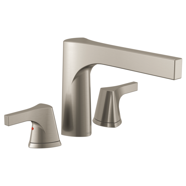 DELTA® T2774-SS Roman Tub Trim, Zura™, 2 gpm Flow Rate, 11 to 16 in Center, Stainless Steel, 2 Handles, Function: Traditional, Domestic