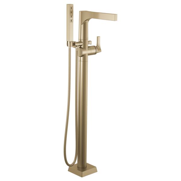 DELTA® T4774-CZFL Zura™ Floor Mount Tub Filler, 2 gpm Flow Rate, Brilliance® Champagne Bronze, 1 Handles, Domestic