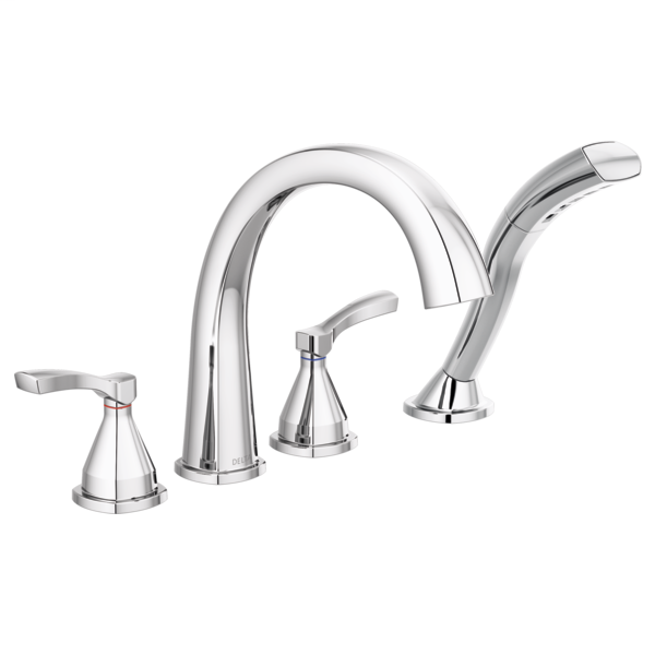 DELTA® T4777 Stryke™ Roman Tub/Whirlpool Faucet Trim, 1.75 gpm at 80 psi Flow Rate, 8 to 16 in Center, Polished Chrome, 2 Handles, Import
