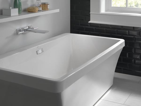 DELTA® T5799-KSWL Pivotal™ Tub Filler, 8 in Center, Black/Stainless Steel, 2 Handles, Import, Residential