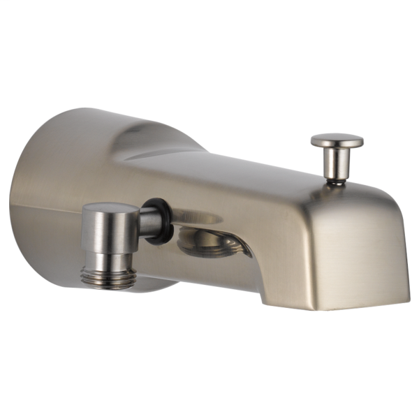 DELTA® U1010-SS-PK Pull-Up Diverter Tub Spout, 6-11/16 in L x 2-7/8 in H, For Use With Tub and Shower Faucet, Metal, Stainless Steel, Import
