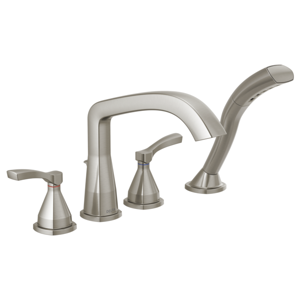 DELTA® T4776-SS Roman Tub Trim, Stryke™, 1.75 gpm, 8 to 16 in Center, Brilliance® Stainless Steel, 2 Handles, Traditional, Domestic
