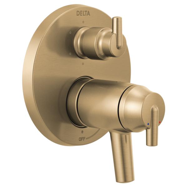 DELTA® T27T959-CZ TempAssure® 17T Contemporary Valve Trim With 6-Setting Integrated Diverter, Brilliance® Champagne Bronze