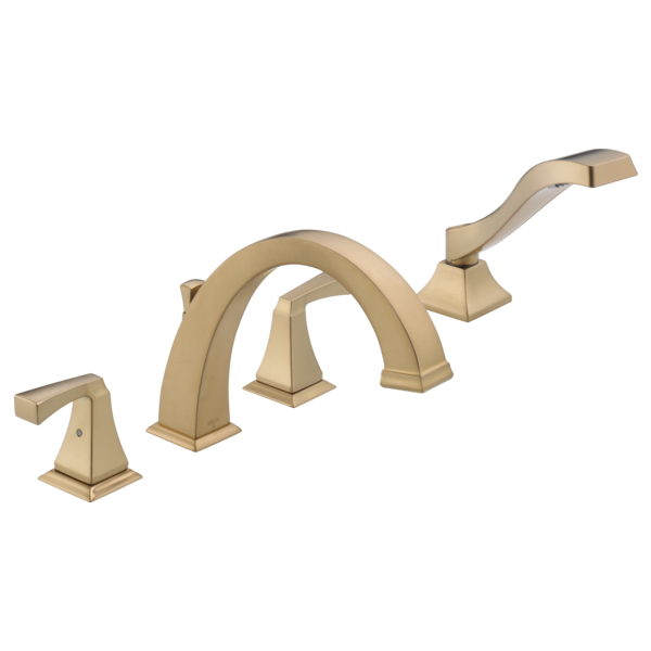 DELTA® T4751-CZ Roman Tub Trim, Dryden™, 2 gpm Flow Rate, 8 to 16 in Center, Champagne Bronze, 2 Handles, Function: Traditional, Import