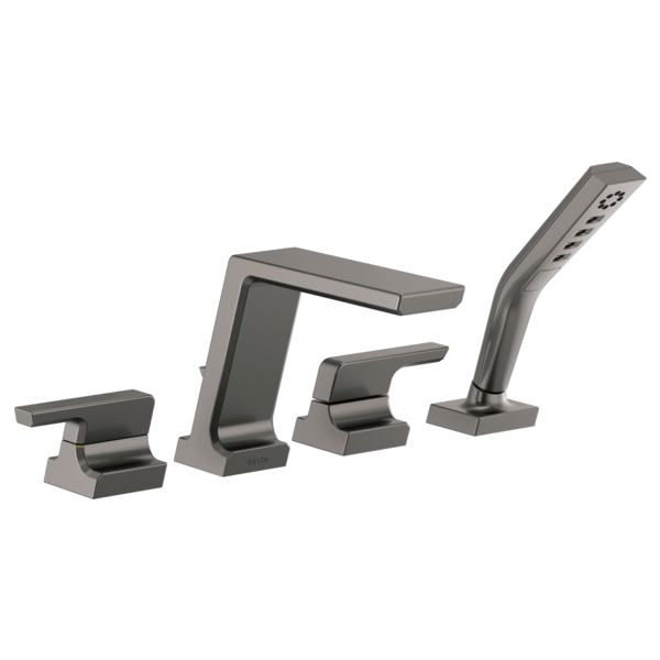 DELTA® T4799-KS Pivotal™ Roman Tub Trim, Commercial/Residential, 1.75 gpm Flow Rate, 8 to 16 in Center, Black/Stainless Steel, 2 Handles, Function: Traditional, Domestic
