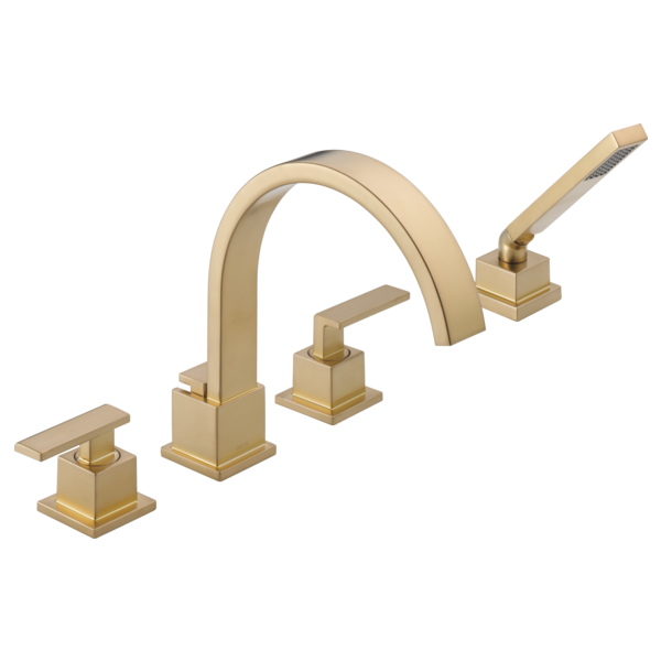 DELTA® T4753-CZ Roman Tub Trim, Vero®, Commercial, 18 gpm Flow Rate, 8 to 16 in Center, Champagne Bronze, 2 Handles, Function: Traditional, Import