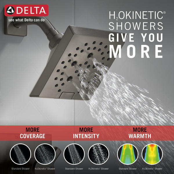 DELTA® T17499-KS Monitor® 17 Tub and Shower Trim, 1.75 gpm Shower, Black/Stainless Steel