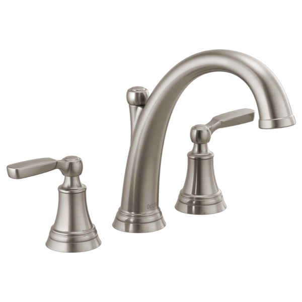 DELTA® T2732-SS Roman Tub Faucet Trim, Woodhurst™, 10 to 16 in Center, Stainless, 2 Handles, Function: Traditional, Domestic