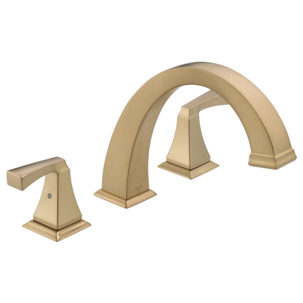 DELTA® T2751-CZ Roman Tub Trim, Dryden™, 2 gpm Flow Rate, 8 to 16 in Center, Champagne Bronze, 2 Handles, Function: Traditional, Import