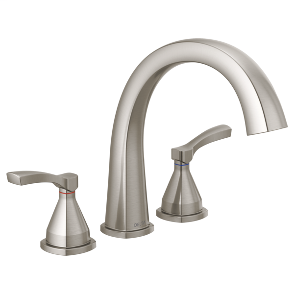 DELTA® T2777-SS Stryke™ Roman Tub/Whirlpool Faucet Trim, 1.75 gpm at 80 psi Flow Rate, 8 to 16 in Center, Stainless Steel, 2 Handles, Import