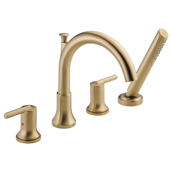 DELTA® T4759-CZ Roman Tub Trim, Trinsic®, Residential, 2 gpm Flow Rate, 8 to 16 in Center, Champagne Bronze, 2 Handles, Function: Traditional, Domestic