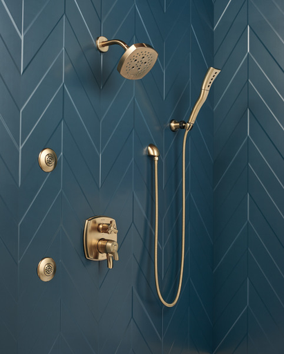 H2Okinetic® Single-Setting Adjustable Wall Mount Hand Shower - Champagne Bronze