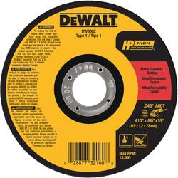 "DeWalt DW8062 4-1/2"" x .045"" x 7/8"" Small Diameter Metal/Stainless Steel Cutting Wheel"