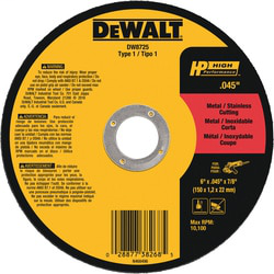 DEWALT DW8725 6 x 0.04 x 7/8 Inch High Performance Metal Cutting Wheel