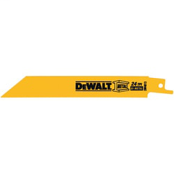 DEWALT DW4813-2 6 Inch 24 TPI Straight Back Bi-Metal Reciprocating Saw Blade