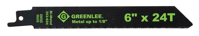 Greenlee 353-624 6 x 3/4 x 0.035 Inch Bi-Metal Straight Back Reciprocating Saw Blade