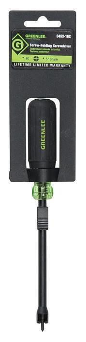 Greenlee 0453-16C 6-5/8 Inch Black/Green Soft Cushioned Grip Phillips Heavy Duty Screw Holding Screwdriver