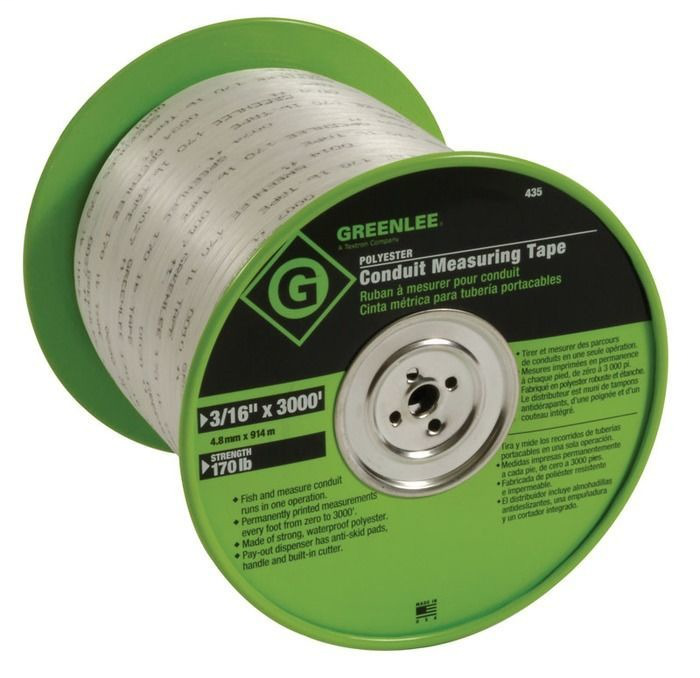Greenlee 435 3/16 Inch x 3000 Foot Polyester Conduit Bender Measuring Tape