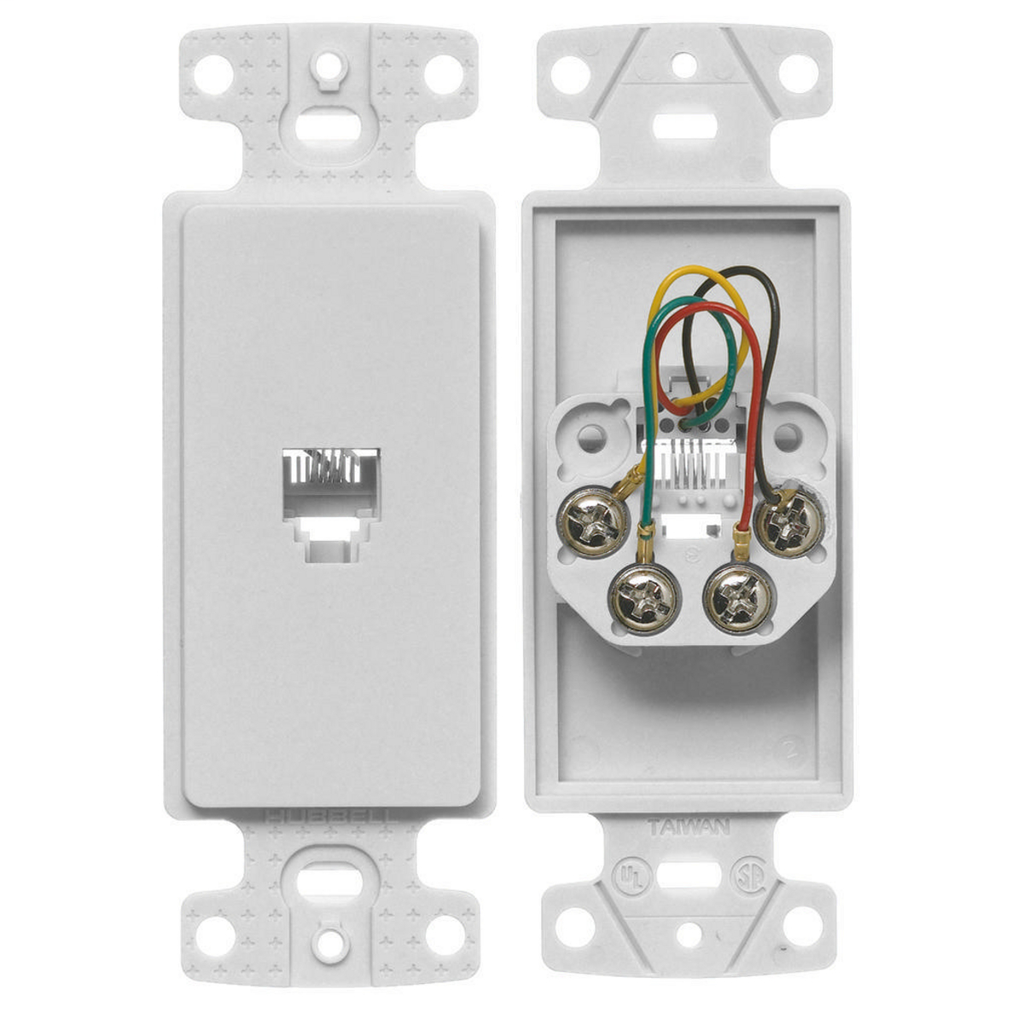 Hubbell Wiring Devices NS770W 1-Gang White Thermoplastic 1-RJ11 Molded-In Data Communication Plate