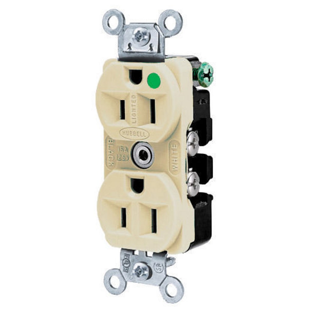 Hubbell Wiring Devices HBL8200ILI 15 Amp 125 Volt 2-Pole 3-Wire NEMA 5-15R Ivory Straight Blade Duplex Receptacle